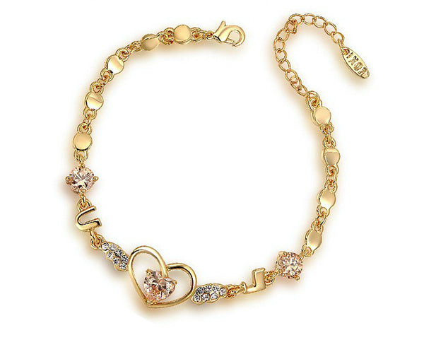18K Gold Plated Aaliyah Bracelet with Simulated Diamond