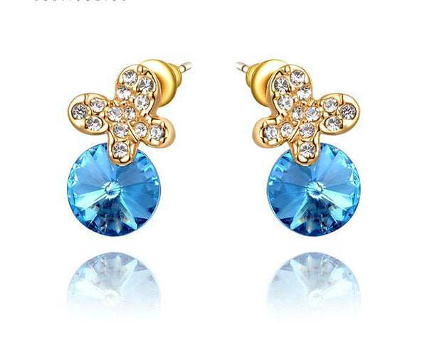 18K Gold Plated Alejandra Earrings with Simulated Diamond