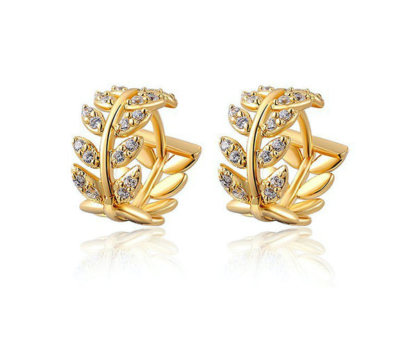 18K Gold Plated Ella Earrings with Simulated Diamond