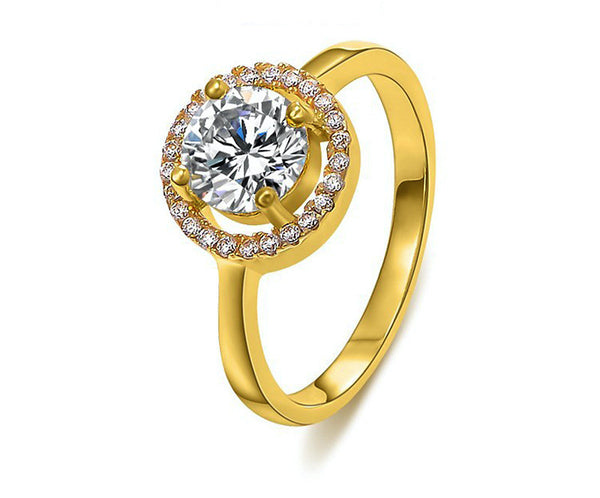 18K Gold Plated Izabella Ring with Simulated Diamond