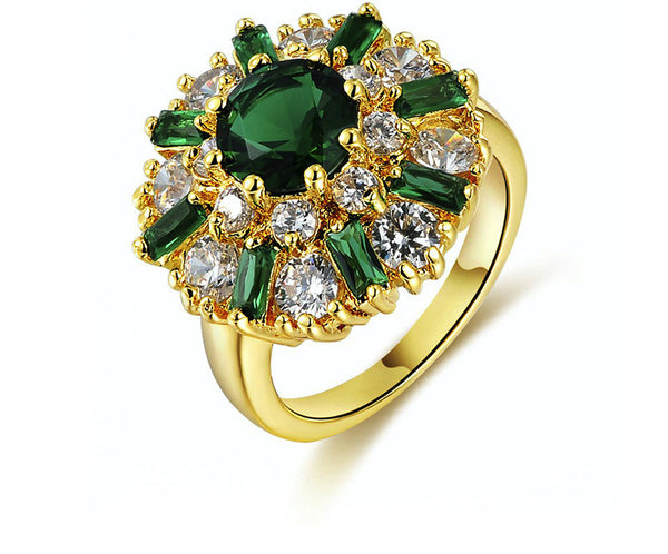 18K Gold Plated Jamie Ring with Simulated Diamond
