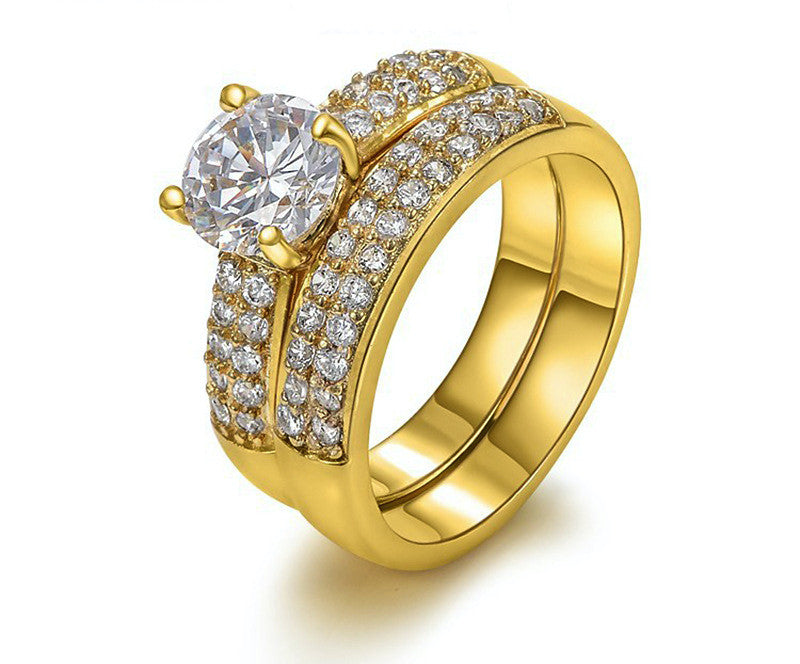 18K Gold Plated Melanie Ring with Simulated Diamond