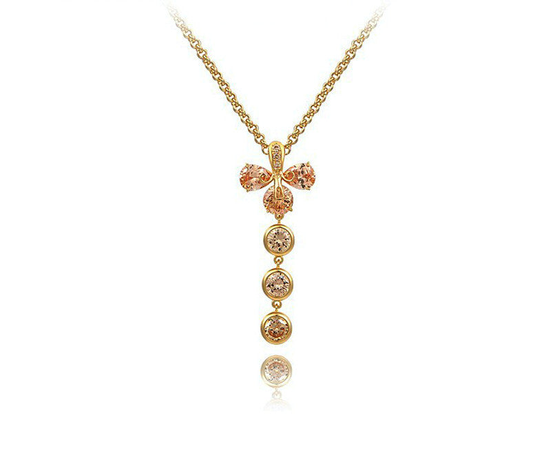 18K Gold Plated Mikayla Necklace with Simulated Diamond