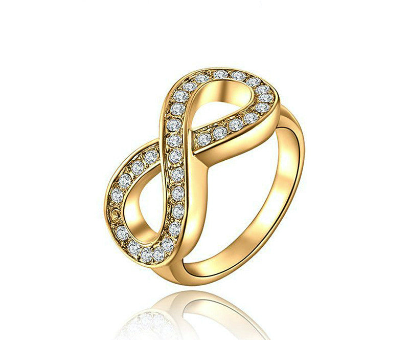 18K Gold Plated Skye Ring with Simulated Diamond