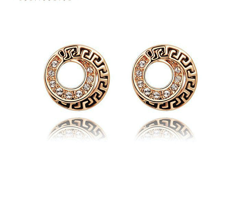18K Rose Gold Plated Abigail Earrings with Simulated Diamond
