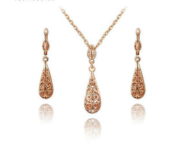 18K Rose Gold Plated Abigail Necklace and Earrings Set with Simulated Diamond