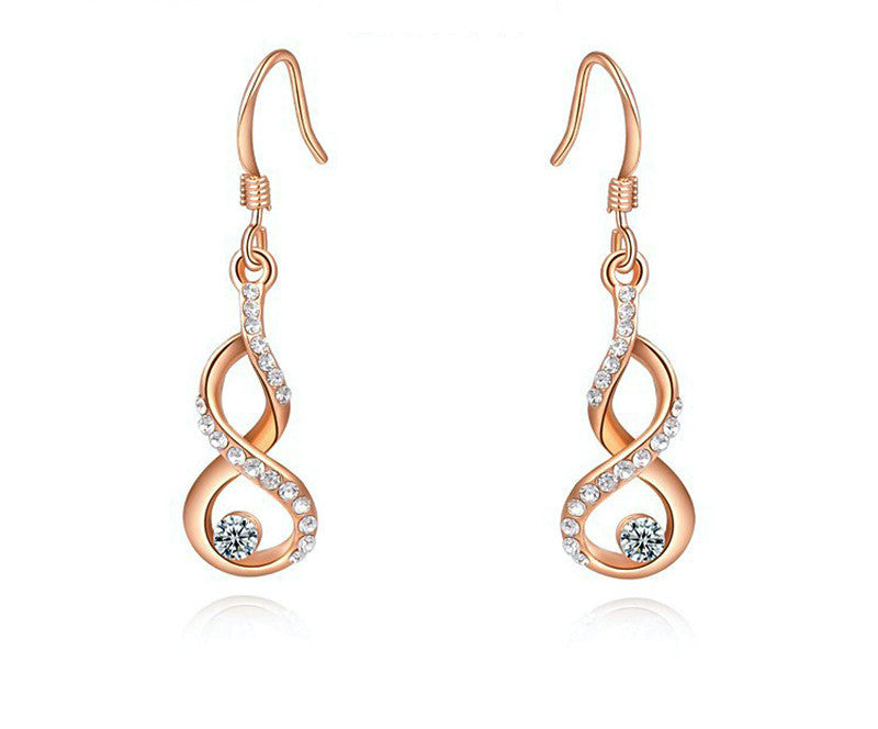 18K Rose Gold Plated Addison Earrings with Simulated Diamond