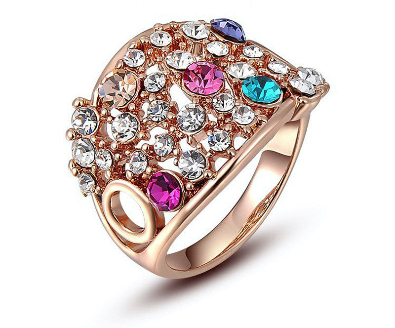 18K Rose Gold Plated Adriana Ring with Simulated Diamond