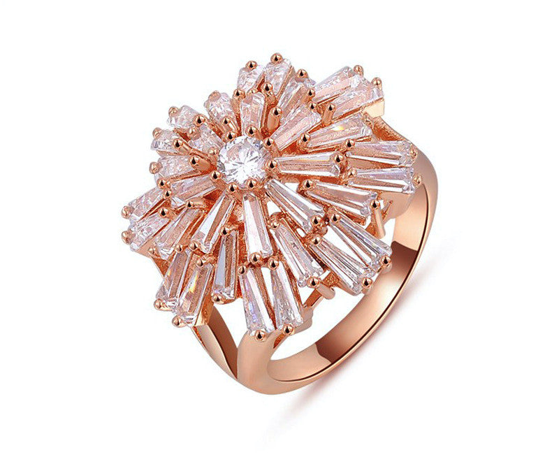 18K Rose Gold Plated Aisha Ring with Simulated Diamond