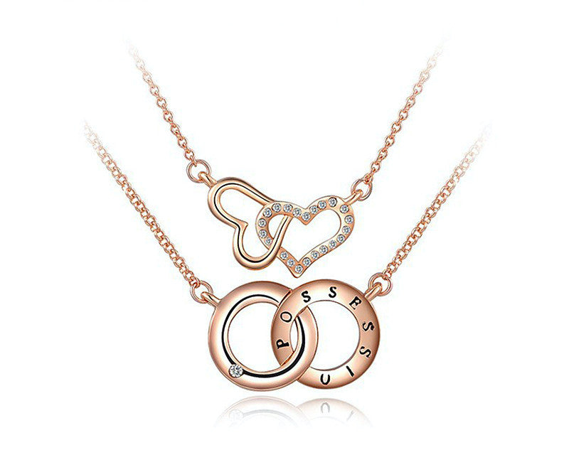 18K Rose Gold Plated Alaina Necklace with Simulated Diamond