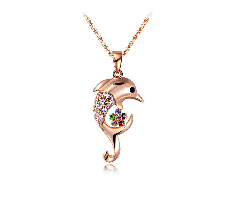 18K Rose Gold Plated Alana Necklace with Simulated Diamond