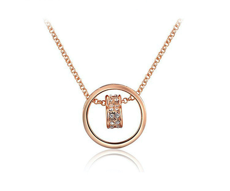 18K Rose Gold Plated Alessandra Necklace with Simulated Diamond
