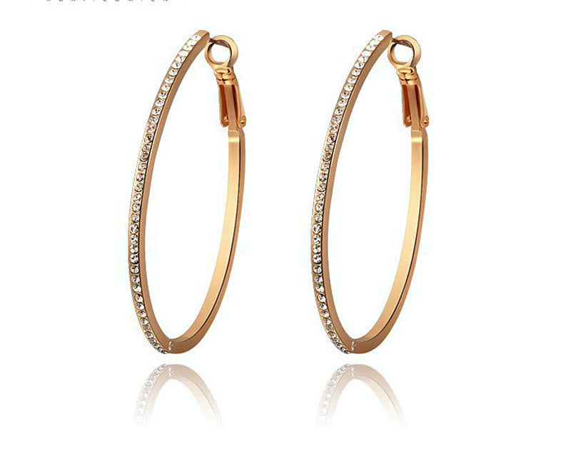 18K Rose Gold Plated Alexa Earrings with Simulated Diamond