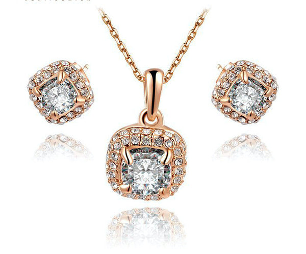 18K Rose Gold Plated Alexa Necklace and Earrings Set with Simulated Diamond
