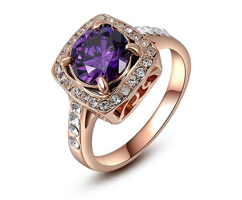 18K Rose Gold Plated Alexa Ring with Simulated Diamond