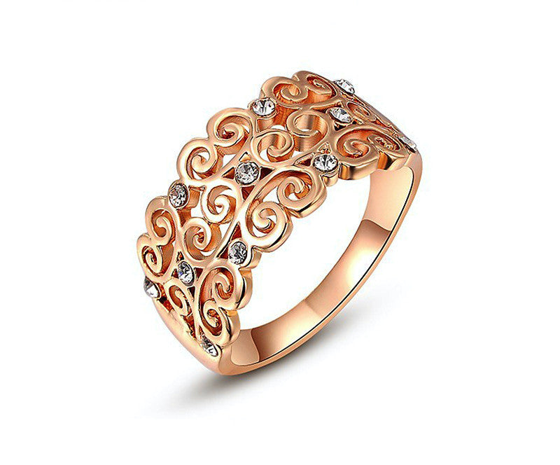 18K Rose Gold Plated Alexandria Ring with Simulated Diamond