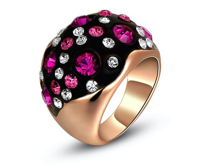 18K Rose Gold Plated Alexis Ring with Simulated Diamond