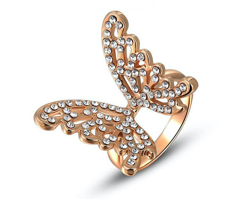 18K Rose Gold Plated Amanda Ring with Simulated Diamond