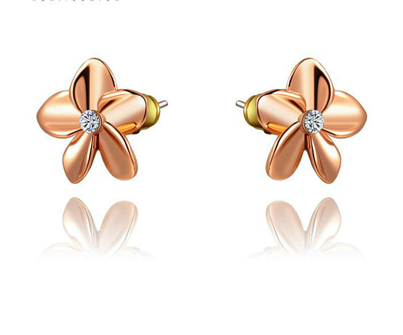 18K Rose Gold Plated Amelia Earrings with Simulated Diamond