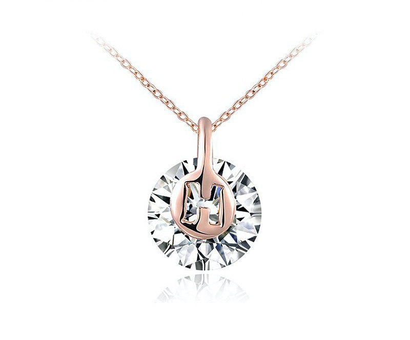 18K Rose Gold Plated Amelia Necklace with Simulated Diamond