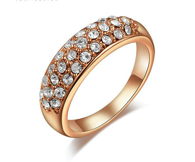 18K Rose Gold Plated Amelia Ring with Simulated Diamond