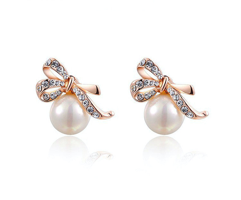 18K Rose Gold Plated Anna Earrings with Simulated Diamond