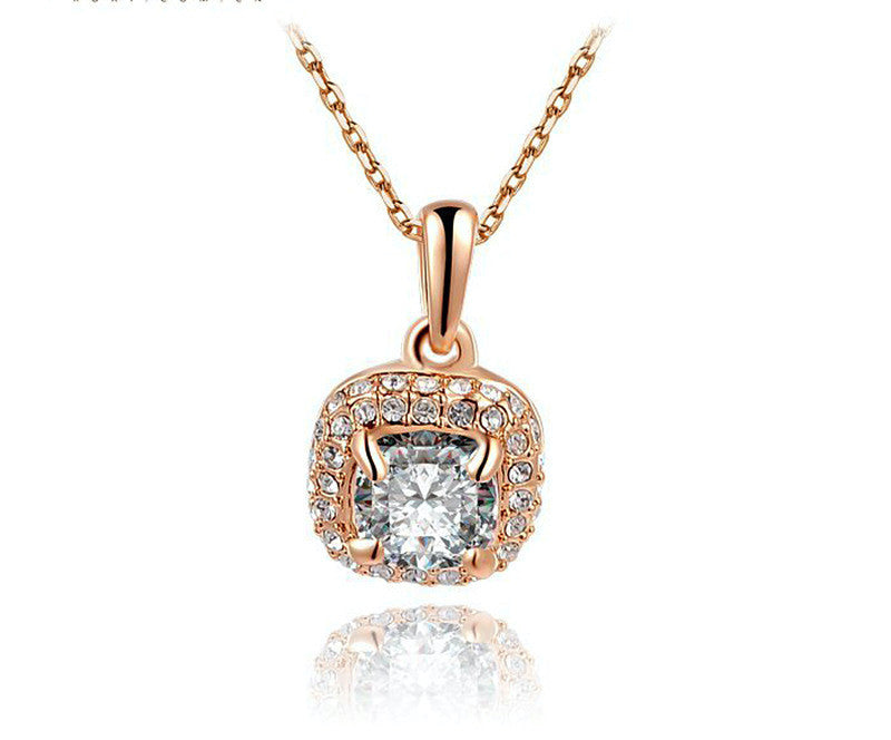 18K Rose Gold Plated Anna Necklace with Simulated Diamond