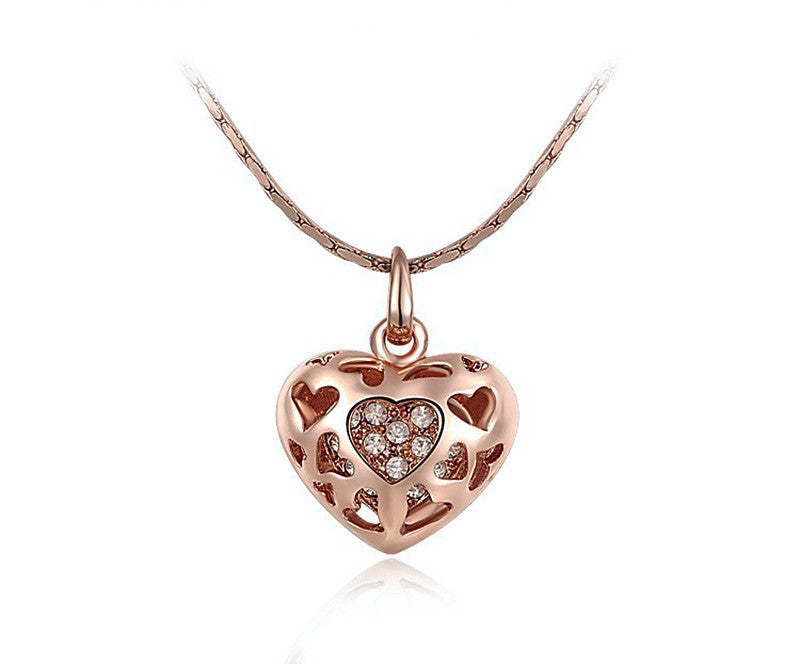 18K Rose Gold Plated Annabelle Necklace with Simulated Diamond