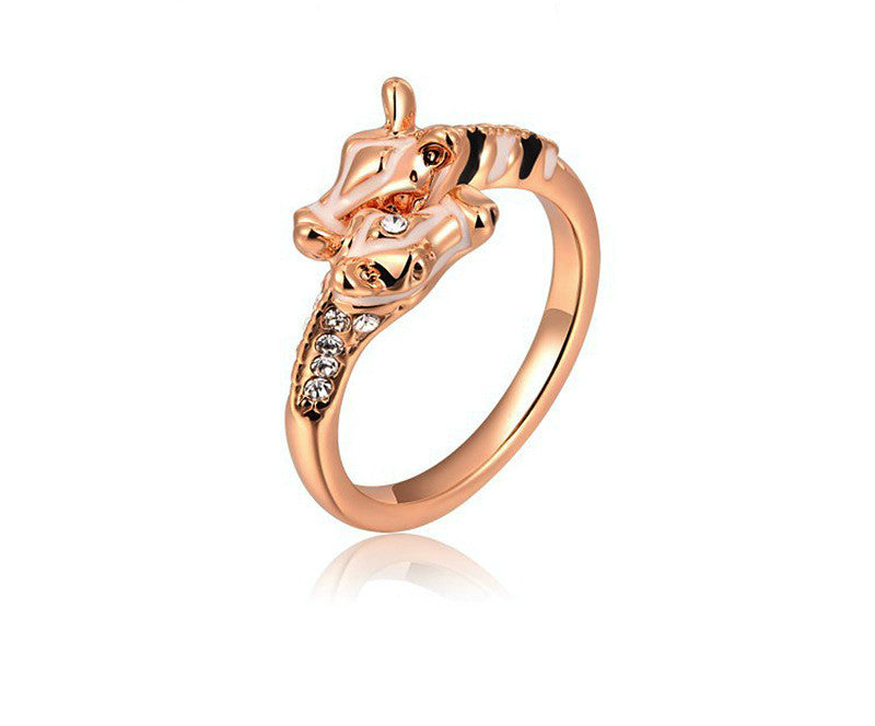 18K Rose Gold Plated Annie Ring with Simulated Diamond