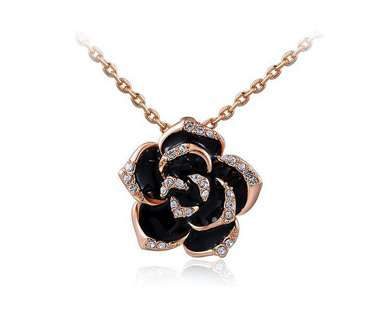 18K Rose Gold Plated Aria Necklace with Simulated Diamond