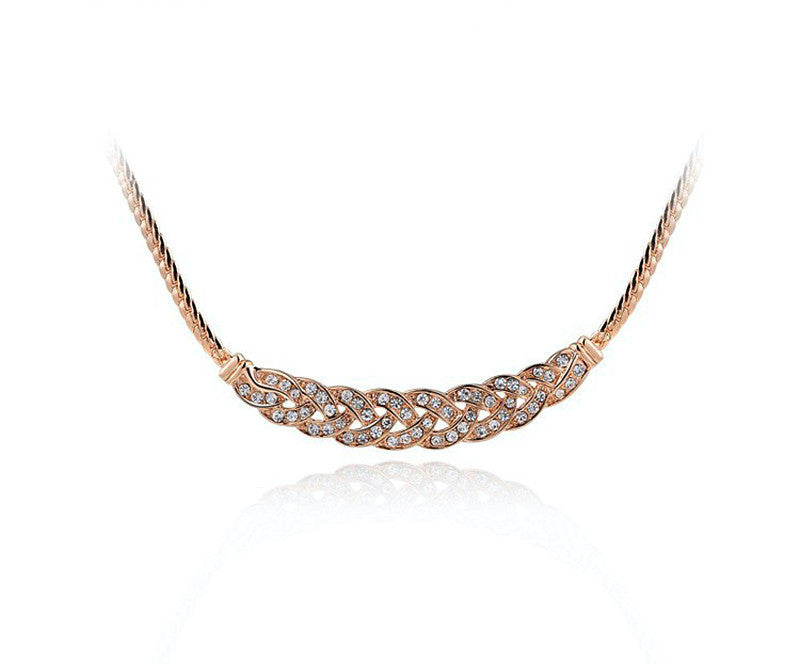 18K Rose Gold Plated Arianna Necklace with Simulated Diamond