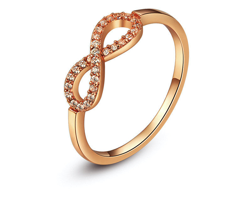 18K Rose Gold Plated Ariella Ring with Simulated Diamond
