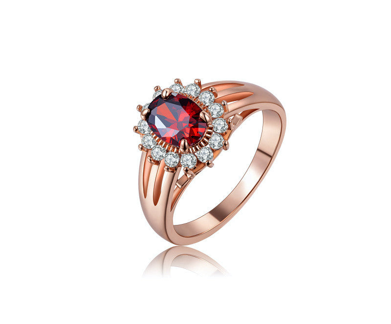 18K Rose Gold Plated Arielle Ring with Simulated Diamond