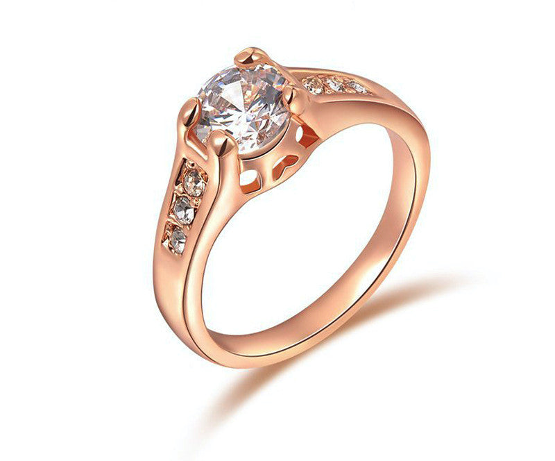 18K Rose Gold Plated Aubree Ring with Simulated Diamond