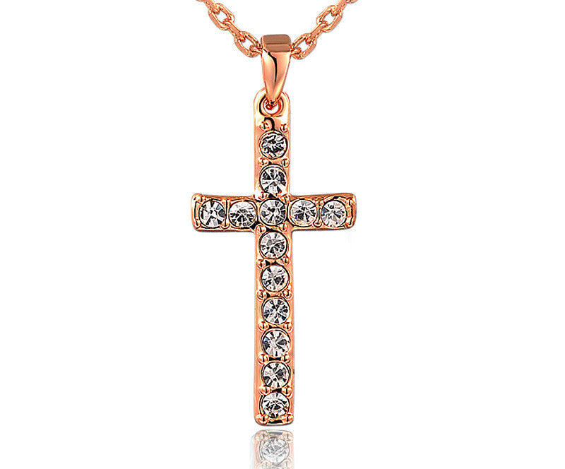 18K Rose Gold Plated Aubrey Necklace with Simulated Diamond