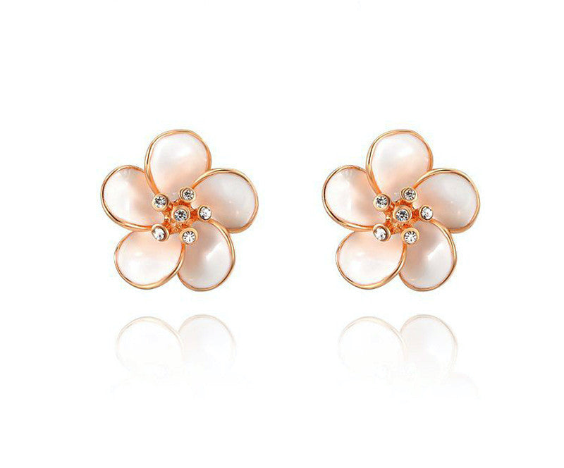 18K Rose Gold Plated Aubrie Earrings with Simulated Diamond