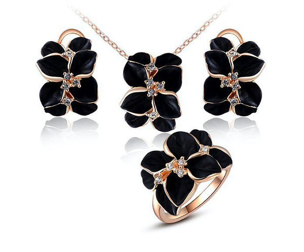18K Rose Gold Plated Autumn Necklace, Earrings, Ring Set with Simulated Diamond