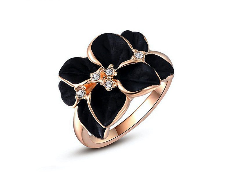 18K Rose Gold Plated Autumn Ring with Simulated Diamond