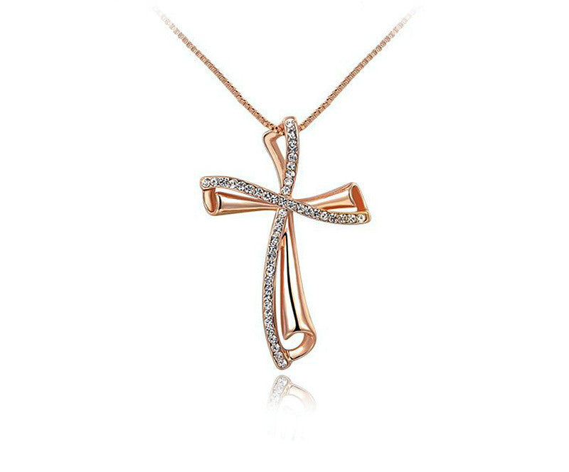 18K Rose Gold Plated Ava Necklace with Simulated Diamond