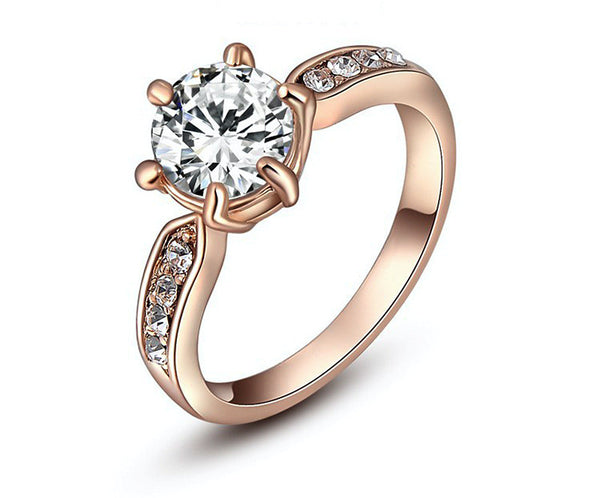 18K Rose Gold Plated Avery Ring with Simulated Diamond