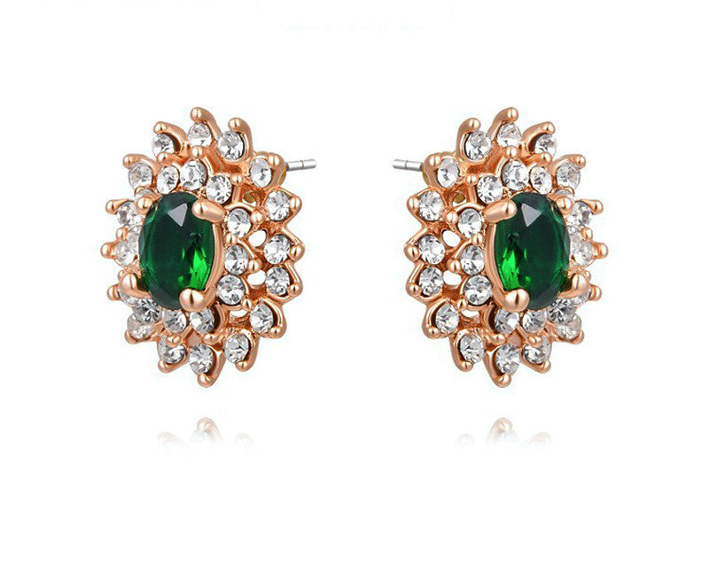 18K Rose Gold Plated Blakely Earrings with Simulated Diamond