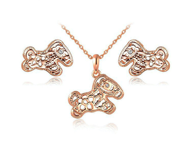 18K Rose Gold Plated Briella Necklace and Earrings Set with Simulated Diamond