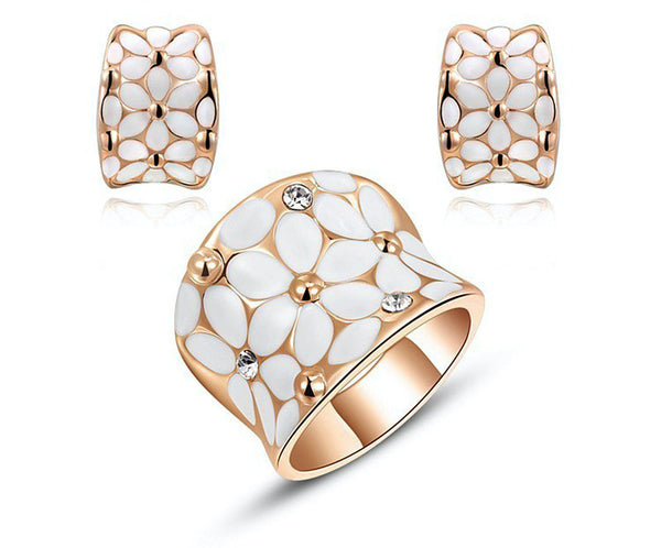 18K Rose Gold Plated Brynlee Earrings and Ring Set with Simulated Diamond