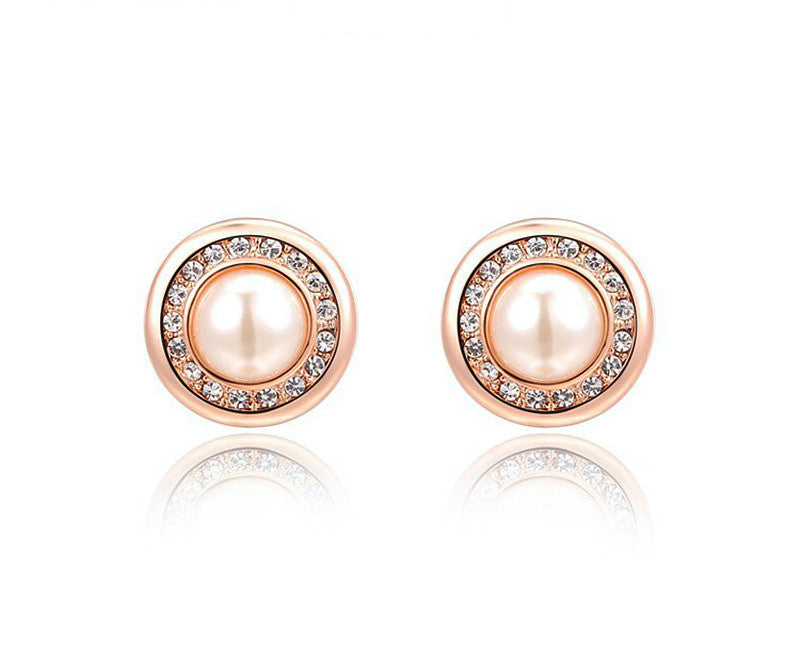 18K Rose Gold Plated Brynn Earrings with Simulated Diamond
