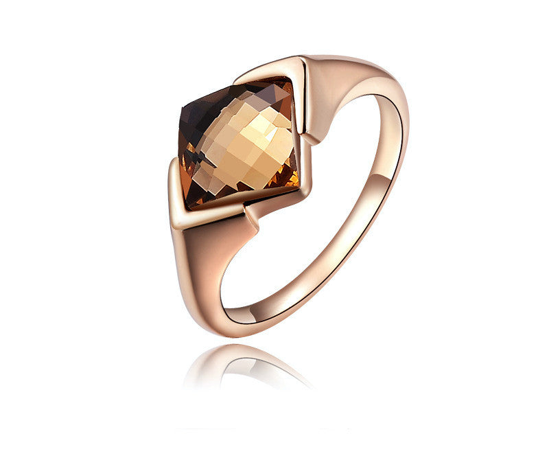 18K Rose Gold Plated Cali Ring with Simulated Diamond