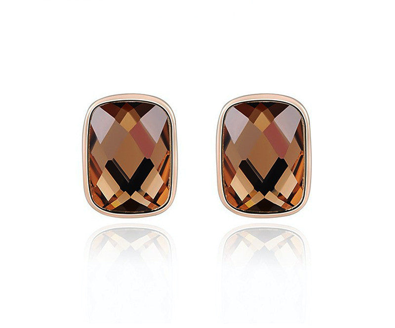 18K Rose Gold Plated Caroline Earrings with Simulated Diamond