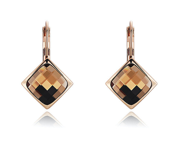 18K Rose Gold Plated Catherine Earrings with Simulated Diamond