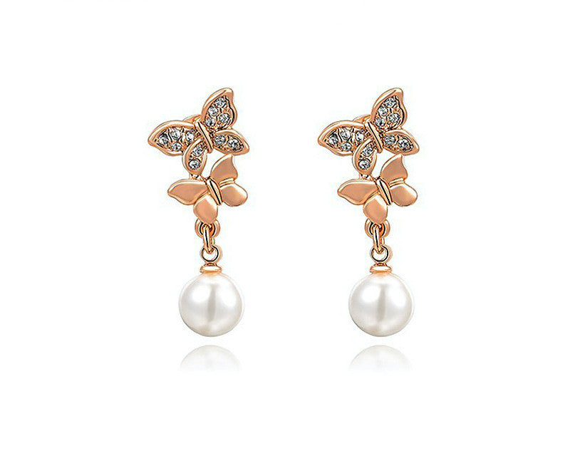 18K Rose Gold Plated Celeste Earrings with Simulated Diamond