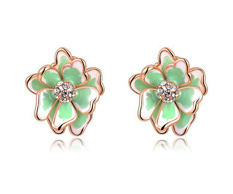 18K Rose Gold Plated Cynthia Earrings with Simulated Diamond
