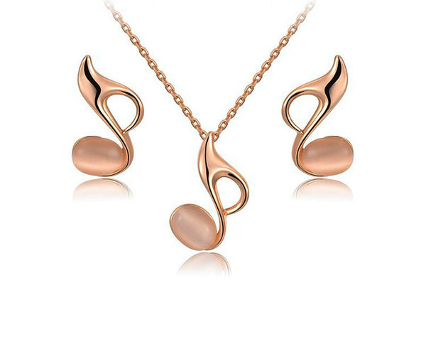 18K Rose Gold Plated Daleyza Necklace and Earrings Set with Simulated Diamond